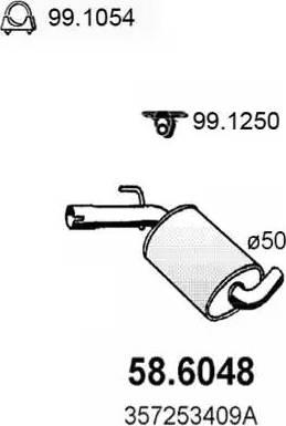 ASSO 58.6048 - Средний глушитель выхлопных газов avtodrive.by