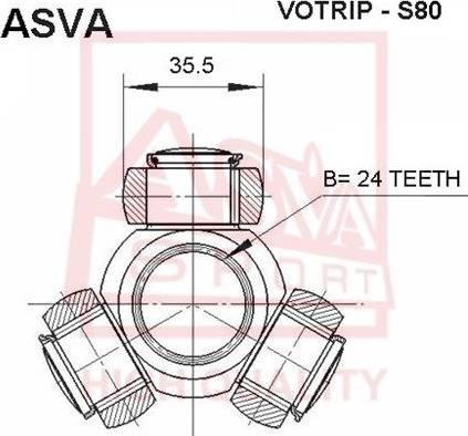 ASVA VOTRIPS80 - Шарнирный комплект, ШРУС, приводной вал avtodrive.by