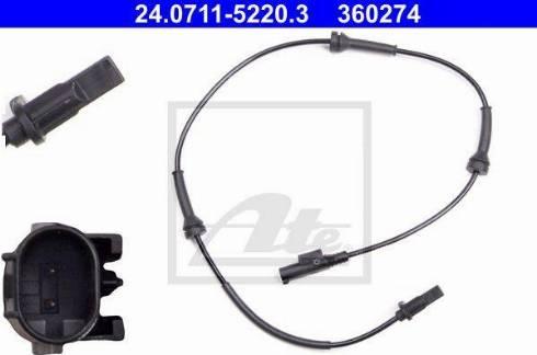 ATE 24.0711-5220.3 - Датчик ABS, частота вращения колеса avtodrive.by