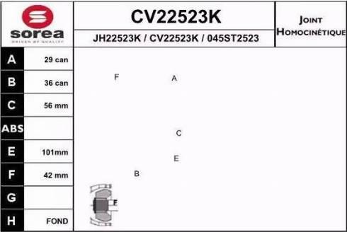 EAI CV22523K - Шарнирный комплект, ШРУС, приводной вал avtodrive.by