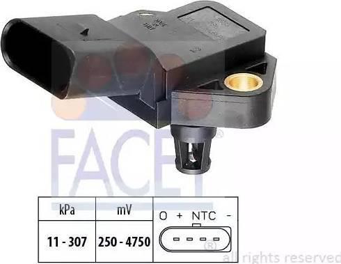 FACET 10.3075 - Датчик, давление выхлопных газов avtodrive.by