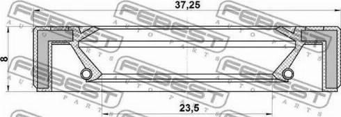 Febest 95GAY-25370808R - Уплотнительное кольцо вала, приводной вал avtodrive.by