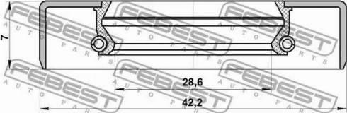 Febest 95GBY-30420707R - Уплотнительное кольцо вала, приводной вал avtodrive.by