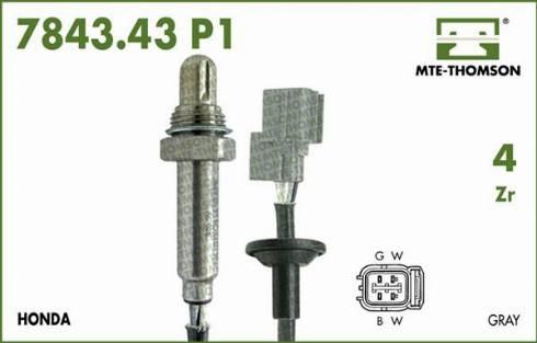 MTE-Thomson 7843.43.080P1 - Лямбда-зонд, датчик кислорода avtodrive.by