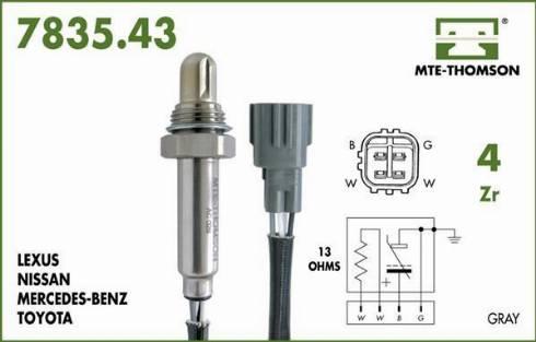 MTE-Thomson 7835.43.046 - Лямбда-зонд, датчик кислорода avtodrive.by