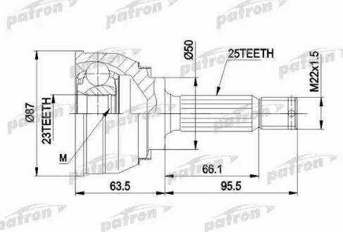 Patron PCV1048 - Шарнирный комплект, ШРУС, приводной вал avtodrive.by