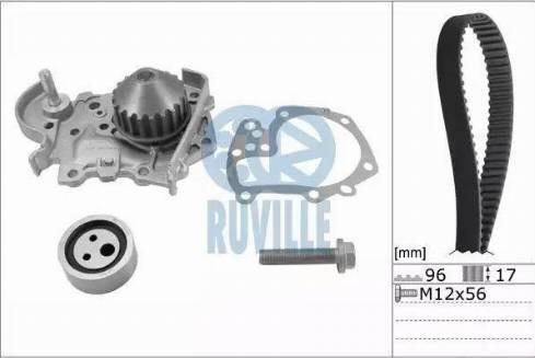Ruville 55622702 - Водяной насос + комплект зубчатого ремня avtodrive.by